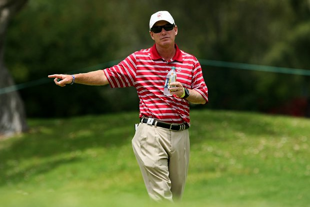 Alabama's head coach Jay Seawell during the first day of Match Play at the 2012 NCAA Championship. Alabama won their matches to advance to face California in the semifinals.