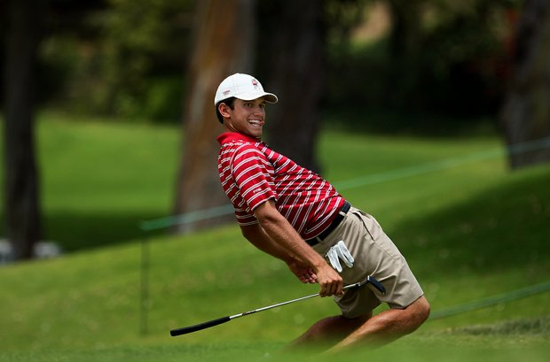 Alabama's Cory Whitsett uses a little body language at No. 9 making birdie during the first day of Match Play  against Kent State's Kyle Kmiecik at the 2012 NCAA Championship.
