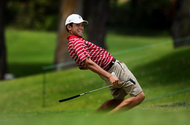 Alabama's Cory Whitsett uses a little body language at No. 9 making birdie during the first day of Match Play at the 2012 NCAA Championship.