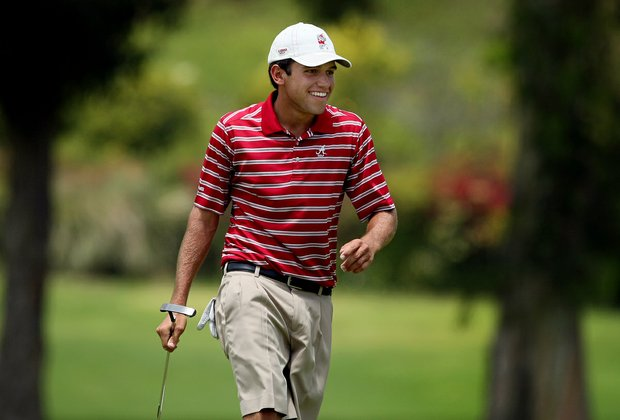 Alabama's Cory Whitsett makes birdie at No. 9 during the first day of Match Play over Kent State's Kyle Kmiecik at the 2012 NCAA Championship. He won his match 5&4.