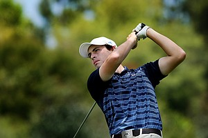 Patrick Cantlay of UCLA hits his tee shot at No. 3 during the first day of Match Play at the 2012 NCAA Championship.