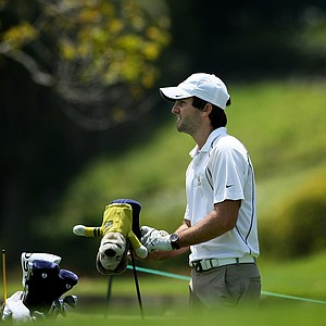 California's Joel Stalter watches his tee shot at No. 3 during the first day of Match Play at the 2012 NCAA Championship. California will face Alabama in the semifinals.