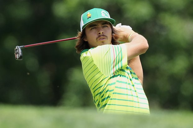 Rickie Fowler watches his tee shot on the third hole during the third round of the Memorial Tournament presented by Nationwide Insurance at Muirfield Village Golf Club.