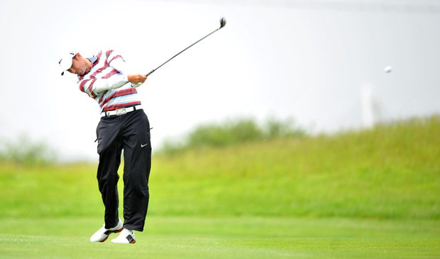 Ross Fisher plays off the 2nd fairwayduring day four of the Wales Open.