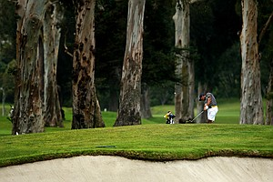 California's Max Homa hits a shot at No. 8 from behind No. 14 green during semifinals of Match Play at the 2012 NCAA Championship.