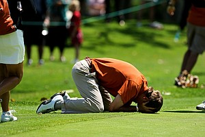 Dylan Frittelli of Texas drops to his Knees after celebrating with his teammates upon winning the 2012 NCAA Championship at Riviera Country Club.