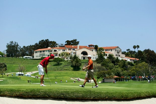 Jordan Spieth of Texas and Justin Thomas of Alabama at No. 10 during the finals of match play at the 2012 NCAA Championship at Riviera Country Club.