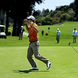 Dylan Frittelli celebrates after sinking his putt at No. 18 during the finals of match play at the 2012 NCAA Championship. Texas defeated Alabama for the National Championship.