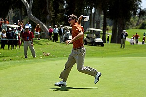 Dylan Frittelli celebrates after sinking his putt at No. 18 during the finals of match play at the 2012 NCAA Championship. Dylan won the last hole defeating Alabama's Cory Whitsett.