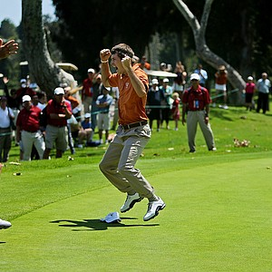 Dylan Frittelli runs toward his teammates after sinking his putt at No. 18 during the finals of match play at the 2012 NCAA Championship at Riviera Country Club.
