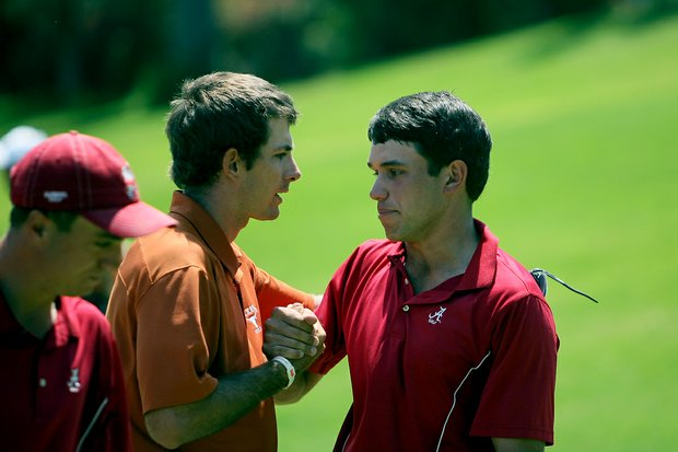 Dylan Frittelli, left, shakes hands with Alabama's Cory Whitsett after their match during the finals of match play at the 2012 NCAA Championship. Frittelli defeated Whitsett 1 up.