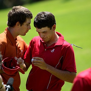 Dylan Frittelli of Texas talks with Alabama's Cory Whitsett after he defeated Whitsett 1 up at No. 18.