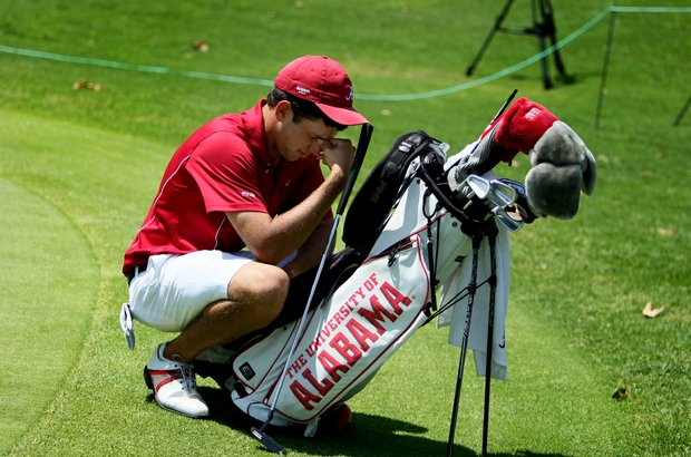 Alabama's Cory Whitsett reacts to losing his match during the finals of match play at the 2012 NCAA Championship.