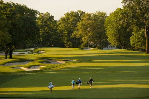 The first group make their way down the first fairway during the 2012 U.S. Open Sectional Qualifying at Scioto Country Club in Columbus, Ohio on Monday, June 4, 2012.