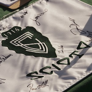 A Scioto flag autographed by the players as seen during the 2012 U.S. Open Sectional Qualifying at Scioto Country Club in Columbus, Ohio on Monday, June 4, 2012.