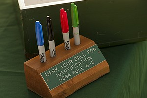 Pens on the starter's table for contestants to use to mark their balls during the 2012 U.S. Open Sectional Qualifying at Scioto Country Club in Columbus, Ohio on Monday, June 4, 2012.
