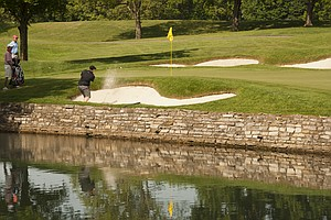 Colt Knost hits a shot out of the bunker on the 17th hole during the 2012 U.S. Open Sectional Qualifying at Scioto Country Club in Columbus, Ohio on Monday, June 4, 2012.