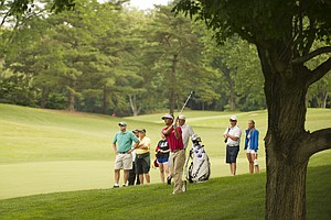 Spencer Levin hits a shot on the 8th hole during the 2012 U.S. Open Sectional Qualifying at Scioto Country Club in Columbus, Ohio on Monday, June 4, 2012.
