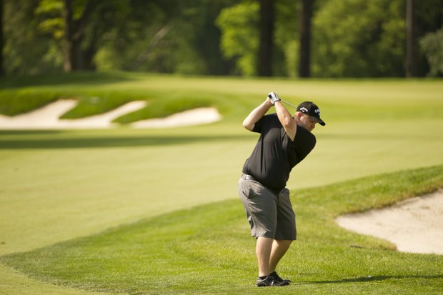 Colt Knost hits his second shot on the 18th hole during the 2012 U.S. Open Sectional Qualifying at Scioto Country Club in Columbus, Ohio on Monday, June 4, 2012.