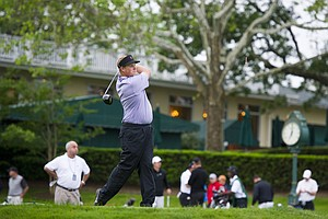Pat Wilson of Andover, N.J. tees off with the first ball of the the 2012 U.S. Open Sectional Qualifying at Canoe Brook Country Club in Summit, N.J. on Monday, June 4, 2012.