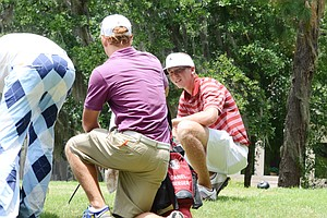 Florida State's Daniel Berger takes a break after his tee shot at the par-5 5th hole during the second round of the 2012 U.S. Open sectional qualifier at Black Diamond Ranch in Lecanto, Fla. Berger held the 18-hole lead with a 4-under 68.