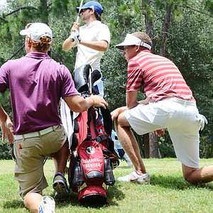 Florida State's Daniel Berger, right, watches Benjamin Silverman's tee shot at the par-5 5th hole during the second round of the 2012 U.S. Open sectional qualifier at Black Diamond Ranch in Lecanto, Fla. Berger held the 18-hole lead with a 4-under 68.