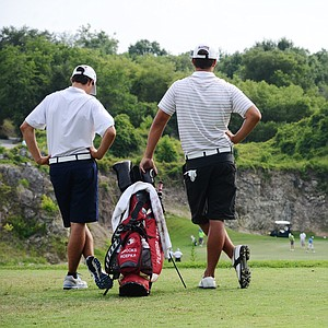 Brooks Koepka, right, and younger brother Chase wait on the 17th tee during the final round at the U.S. Open sectional qualifier at Black Diamond Ranch in Lecanto, Fla. Koepka would par the hole and win the final qualifying spot in a playoff.