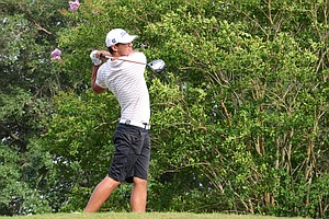 Brooks Koepka tees off at the par-5 18th hole. He would go on to bogey the hole and finish at 2 under to put him in a playoff with Andy Zhang for the final qualifying spot at the U.S. Open sectional at Black Diamond Ranch in Lecanto, Fla. Koepka won the spot with a birdie at the same 18th hole.