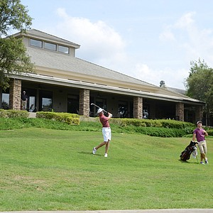 Florida State freshman Daniel Berger hits his third shot at the par-5 18th hole at Black Diamond Ranch in a 2012 U.S. Open sectional qualifier in Lecanto, Fla. on Monday. Berger held the 18-hole lead at 4 under.