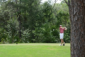 Florida State freshman Daniel Berger hits his tee shot at the par-5 9th hole at Black Diamond Ranch in a 2012 U.S. Open sectional qualifier in Lecanto, Fla. on Monday. Berger held the 18-hole lead at 4 under.