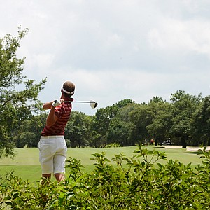 Florida State freshman Daniel Berger hits his drive at the short par-4 7th hole at Black Diamond Ranch in a 2012 U.S. Open sectional qualifier in Lecanto, Fla. on Monday. Berger held the 18-hole lead at 4 under.