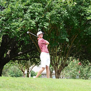 Florida State freshman Daniel Berger hits his tee ball at the par-3 8th at Black Diamond Ranch in a 2012 U.S. Open sectional qualifier in Lecanto, Fla. on Monday. Berger held the 18-hole lead at 4 under.