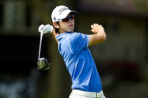 Seung-Yul Noh of South Korea watches his tee shot on the fifth hole during the 2012 U.S. Open Sectional Qualifying at in Springfield, Ohio on Monday, June 4, 2012.