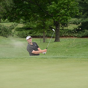 Michael Thompson hits out of a bunker at the 2012 U.S. Open sectional qualifier at Woodmont, CC in Rockville, Md.