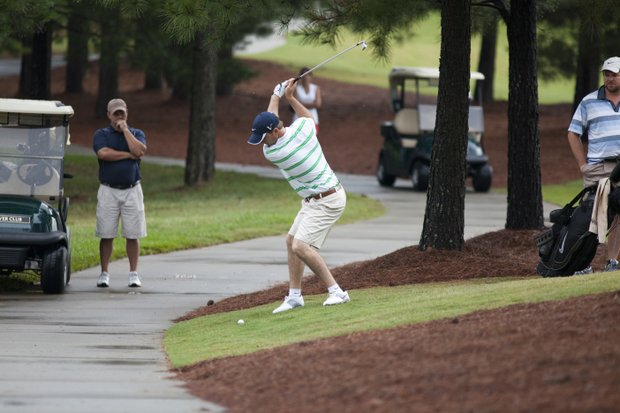 Russell Henley plays his shot on the 10th hole during the 2012 U.S. Open Sectional Qualifying at The River Club in Suwanee, Ga.