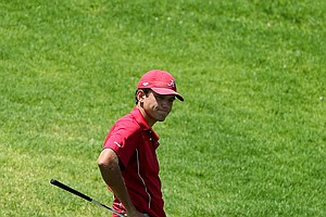 Alabama's Cory Whitsett stands stunned over his ball after whiffing his third shot during the finals of match play.
