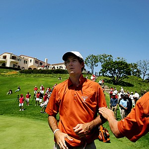 Dylan Frittelli takes it all in after sinking a birdie putt to win the 2012 NCAA Championship at Riviera Country Club in Pacific Palisades, Calif.