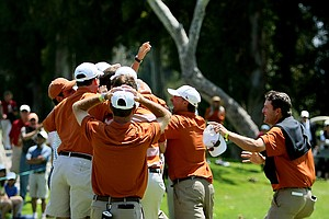 Texas teammates mob Dylan Frittelli after he sunk a birdie putt to win during the finals of match play at the 2012 NCAA Championship.