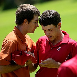 Dylan Frittelli, left, talks with Alabama's Cory Whitsett after their match during the finals of match play at the 2012 NCAA Championship.