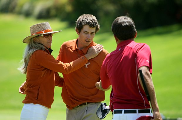 Alabama's Cory Whitsett returns Dylan Frittelli's ball at No. 18 after he birdied to win the match.