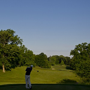 Cody Hale watches his tee shot on the first hole during the 2012 U.S. Open Sectional Qualifying at Springfield Country Club in Springfield, Ohio.