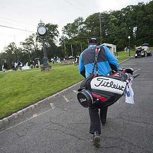 Marc Turnesa walks to the practice range as seen during the 2012 U.S. Open Sectional Qualifying at Canoe Brook Country Club in Summit, N.J.