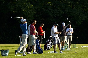 Seung-Yul Noh warms up on the driving range during the 2012 U.S. Open Sectional Qualifying at Springfield Country Club in Springfield, Ohio.