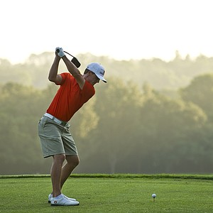 Blayne Barber tees off during the 2012 U.S. Open Sectional Qualifying at Black Diamond Ranch (Quarry Course) in Lecanto, Fla.