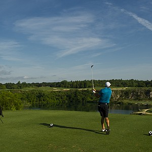 Sam Saunders tees off on the 15th hole during the 2012 U.S. Open Sectional Qualifying at Black Diamond Ranch (Quarry Course) in Lecanto, Fla.