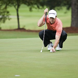 Casey Wittenburg lines up his putt on the 13th hole during the 2012 U.S. Open Sectional Qualifying at The River Club in Suwanee, Ga.