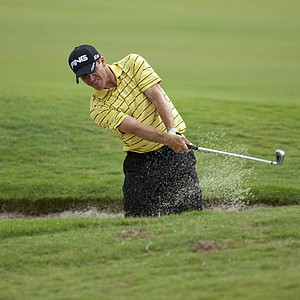 Stefan Wiedergruen plays from a greeenside bunker on the 10th hole during the 2012 U.S. Open Sectional Qualifying at The River Club in Suwanee, GA.