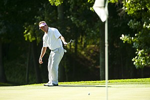 Fred Funk putts on the 15th green during the 2012 U.S. Open Sectional Qualifying at Woodmont Country Club in Rockville, Md. on Monday, June 4, 2012.