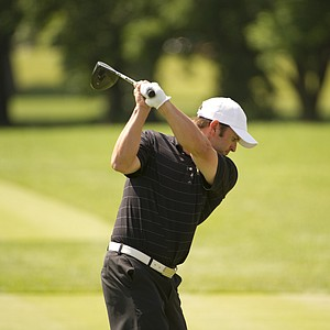 Tim Mickelson hits his tee shot on the 18th hole during the 2012 U.S. Open Sectional Qualifying at Scioto Country Club in Columbus, Ohio on Monday, June 4, 2012.