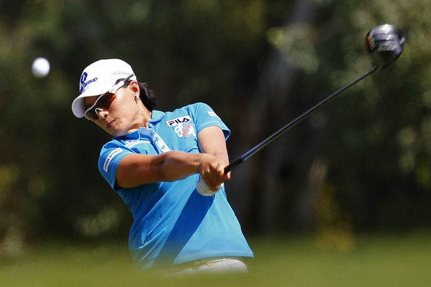 Se Ri Pak, of South Korea, hits from the 15th tee during the first round of the Kraft Nabisco Championship.